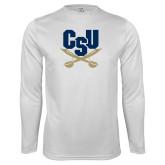 Syntrel Performance White Longsleeve Shirt-Primary Athletic Mark