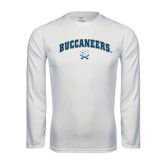 Syntrel Performance White Longsleeve Shirt-Buccaneers Arched