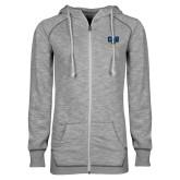 ENZA Ladies Grey/Black Marled Full Zip Hoodie-Primary Athletic Mark