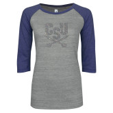 ENZA Ladies Athletic Heather/Blue Vintage Baseball Tee-Primary Athletic Mark Silver Soft Glitter
