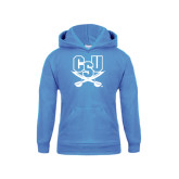 Youth Light Blue Fleece Hood-CSU-Swords Logo