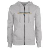 ENZA Ladies Grey Fleece Full Zip Hoodie-Charleston Southern Buccaneers Stacked w/ Logo