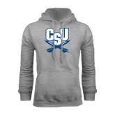 Grey Fleece Hood-CSU-Swords Logo