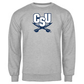 Grey Fleece Crew-CSU-Swords Logo