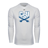 Under Armour White Long Sleeve Tech Tee-CSU-Swords Logo