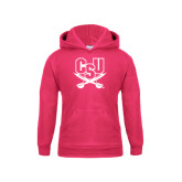 Youth Raspberry Fleece Hood-CSU-Swords Logo