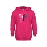 Youth Raspberry Fleece Hoodie-Primary Athletic Mark  Foil