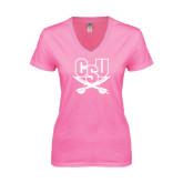 Next Level Ladies Junior Fit Deep V Pink Tee-CSU-Swords Logo