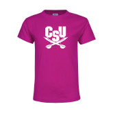 Youth Cyber Pink T Shirt-Primary Athletic Mark