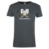 Ladies Dark Heather T Shirt-Volleyball
