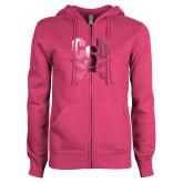 ENZA Ladies Fuchsia Fleece Full Zip Hoodie-Primary Athletic Mark  Foil