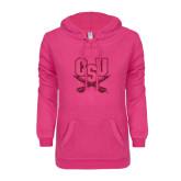 ENZA Ladies Hot Pink V-Notch Raw Edge Fleece Hoodie-CSU-Swords Logo Hot Pink Glitter