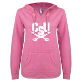 ENZA Ladies Hot Pink V Notch Raw Edge Fleece Hoodie-Primary Athletic Mark