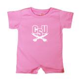 Bubble Gum Pink Infant Romper-CSU-Swords Logo