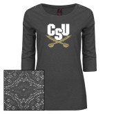 Ladies Charcoal Heather Lace 3/4 Sleeve Tee-Primary Athletic Mark
