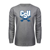 Grey Long Sleeve T Shirt-CSU-Swords Logo
