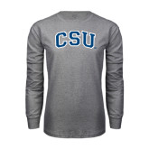 Grey Long Sleeve T Shirt-CSU Arched