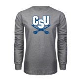 Grey Long Sleeve T Shirt-CSU-Swords Logo Distressed