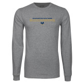 Grey Long Sleeve T Shirt-Charleston Southern Buccaneers Stacked w/ Logo