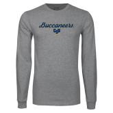 Grey Long Sleeve T Shirt-Buccaneers Script