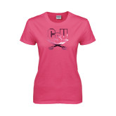 Ladies Fuchsia T Shirt-CSU-Swords Logo Foil