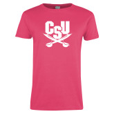 Ladies Fuchsia T Shirt-Primary Athletic Mark