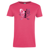 Ladies Fuchsia T Shirt-Primary Athletic Mark  Foil