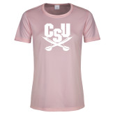 Ladies Performance Light Pink Tee-Primary Athletic Mark
