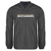 V Neck Charcoal Raglan Windshirt-Charleston Southern Buccaneers