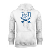 White Fleece Hood-CSU-Swords Logo