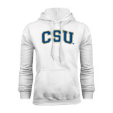White Fleece Hood-CSU Arched