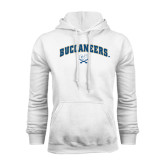 White Fleece Hood-Buccaneers Arched