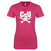 Ladies SoftStyle Junior Fitted Fuchsia Tee-Primary Athletic Mark