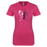 Ladies SoftStyle Junior Fitted Fuchsia Tee-Primary Athletic Mark  Foil