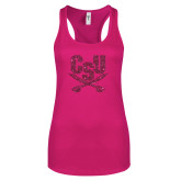 Next Level Ladies Raspberry Ideal Racerback Tank-Primary Athletic Mark Hot Pink Glitter