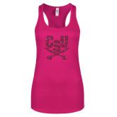 Next Level Ladies Raspberry Ideal Racerback Tank-Primary Athletic Mark Hot Pink Glitter