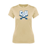 Ladies Syntrel Performance Vegas Gold Tee-CSU-Swords Logo