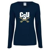 Ladies Navy Long Sleeve V Neck T Shirt-Primary Athletic Mark