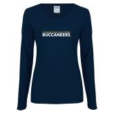 Ladies Navy Long Sleeve V Neck T Shirt-Charleston Southern Buccaneers