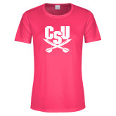Ladies Performance Hot Pink Tee-Primary Athletic Mark