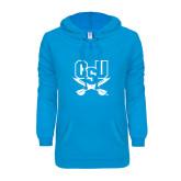 ENZA Ladies Pacific Blue V-Notch Raw Edge Fleece Hoodie-CSU-Swords Logo
