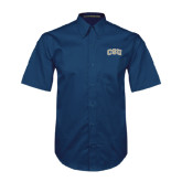 Navy Twill Button Down Short Sleeve-CSU Arched