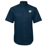 Navy Twill Button Down Short Sleeve-Primary Athletic Mark