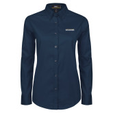 Ladies Navy Twill Button Down Long Sleeve-Charleston Southern Buccaneers