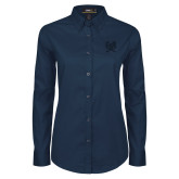 Ladies Navy Twill Button Down Long Sleeve-Primary Athletic Mark
