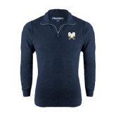 Navy Rib 1/4 Zip Pullover-CSU-Swords Logo
