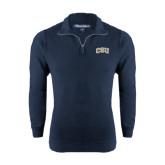 Navy Rib 1/4 Zip Pullover-CSU Arched