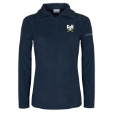 Columbia Ladies Half Zip Navy Fleece Jacket-Primary Athletic Mark