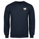 Navy Fleece Crew-CSU-Swords Logo