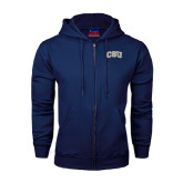 Navy Fleece Full Zip Hood-CSU Arched